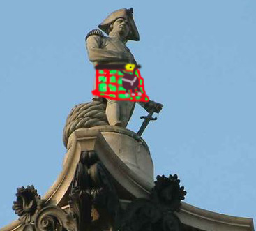 London Scots - picture of Nelson column with kilt on Nelson