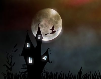 Halloween - Robert Burns. Picture of spooky house and witch on broomstick