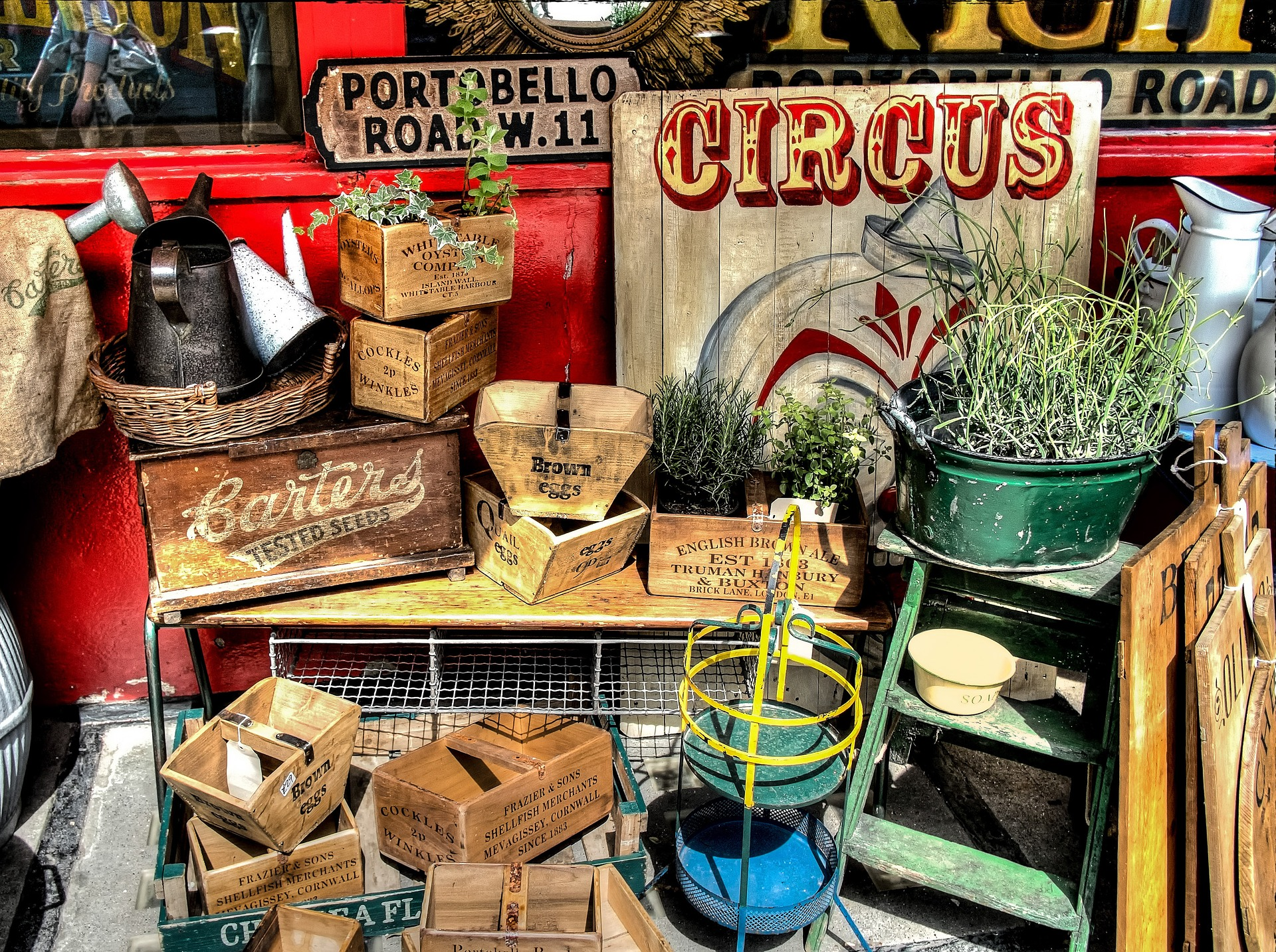 Picture of items for sale in Portobello Road