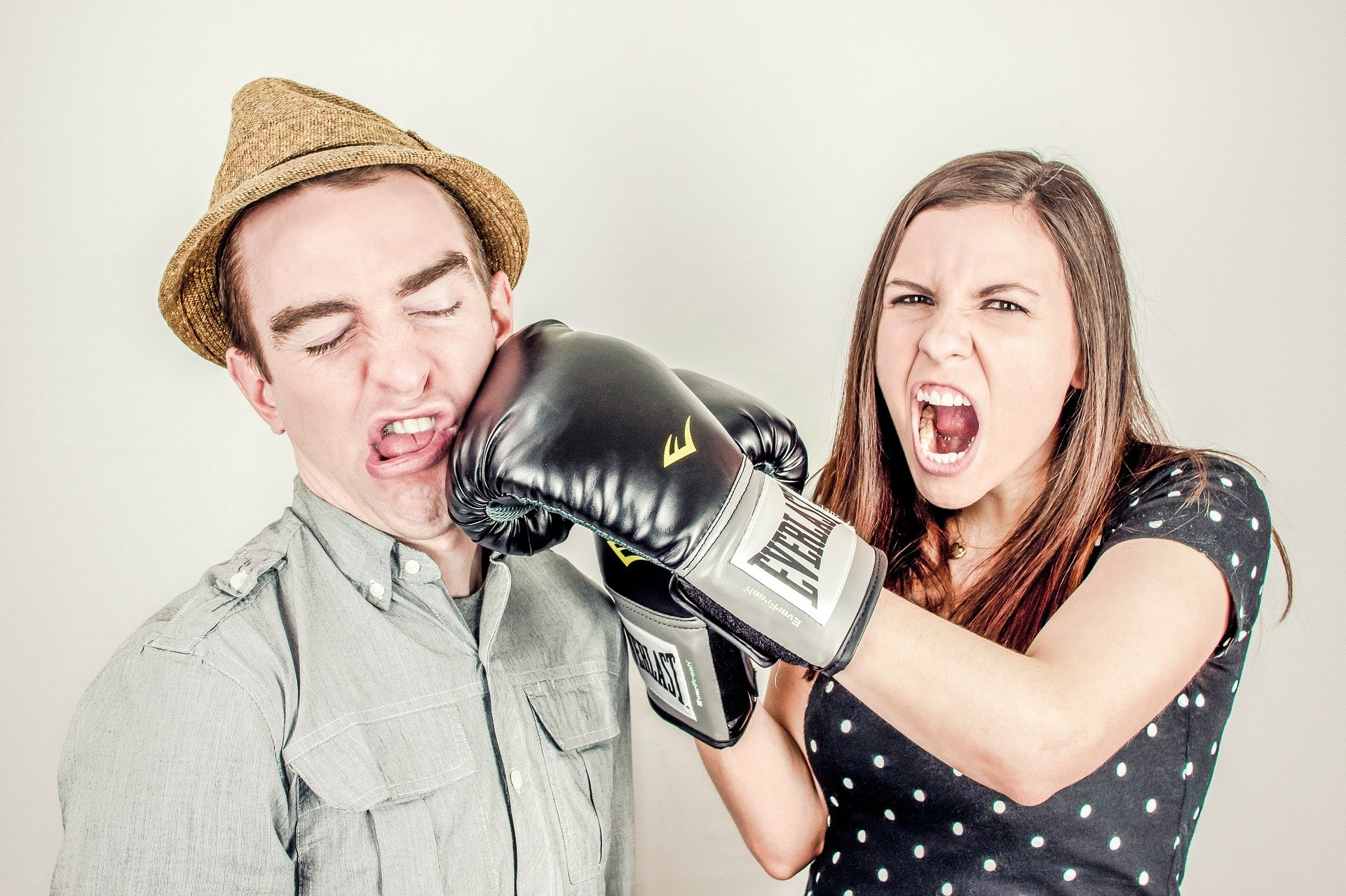 Team collaboration - Picture of woman boxing with man
